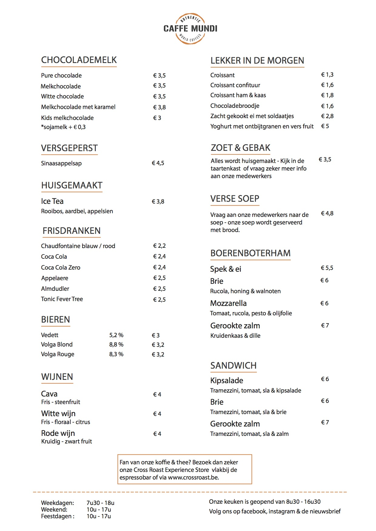 Winter menukaart specials 2017